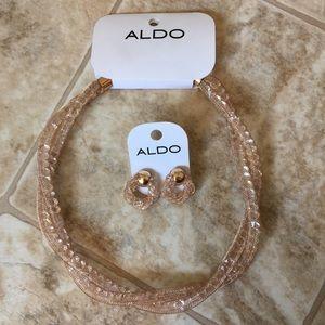 ALDO Rose Gold Jewelry Necklace Earrings